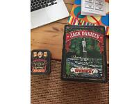 Jack daniels collectors tin with shot glasses