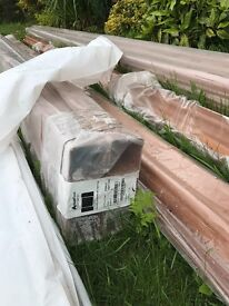 Light Oak Ogee Guttering. Brand New. High Quality, with downpipes and all fittings.