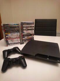 PS3 slim 120gb bundle, 33 games, 2 controllers