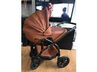 Baby pram stroller car seat 3 in 1 brown leather