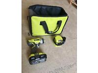 For sale RYOBI ONE+ CORDLESS 18V 1.3AH LI-ION IMPACT DRIVER 1 BATTERY And charger