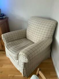 Large Check Comfy Armchair and Matching Footstool