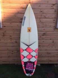Factory 52 Surfboard 5'11, 18 5/8, 2 1/4, shaped by Matt Barrow + FCS M 3s + Board Bag