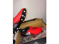 RED AND BLACK ADIDAS MOULDED STUDS SOCKBOOT X16.3 SIZE 5.5 UK CHEAP BRAND NEW IN BOX