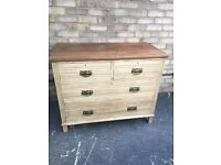 CHEST OF DRAWERS PAINTED MAHOGANY RUSTIC FARMHOUSE COUNTRY 2 OVER TWO EDWARDIAN