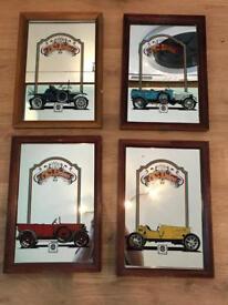 4 x AC Delco 1908 Vintage Advertising Mirrors