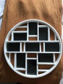 White round photo frame.