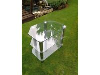 3 Tier clear glass tv stand