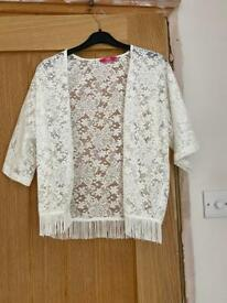 White lace kimono with fringe Size 12-13years Brand YD Condition used