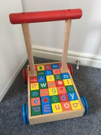 Wooden Push-Along Trolley with Wooden Alphabet Blocks