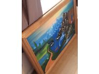 Unusual Mother Nature painting with solid oak frame