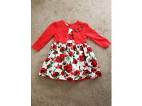 Monsoon red poppy dress with cardigan 6-12 mths