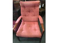 Appealing Vintage Retro Cintique Style Teak Easy Lounge/Fireside Armchair