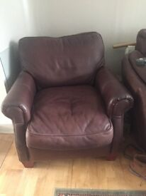 2 very tidy leather chairs less than 18 months old all leather with detachable cushions