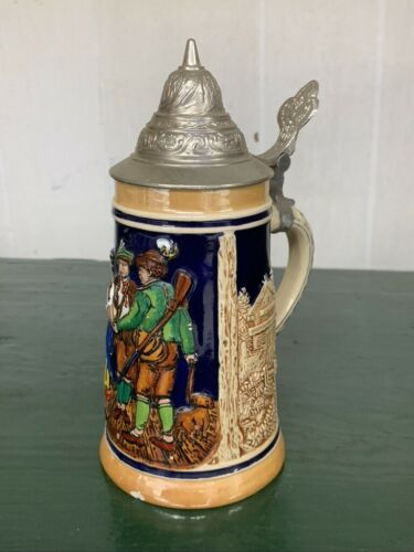 Vintage DRM German Stein - West Germany - Hunting Scene - Oktoberfest
