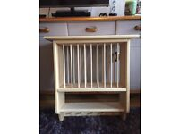 Traditional solid pine wall mounted plate rack with shelf and cup pegs