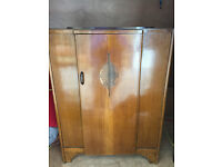 Vintage Art Deco Wardrobe - Lovely Deco Detail - small in size , has hanging rail and 3 shelves .