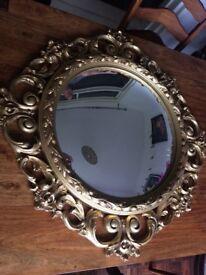 Gold large ornate convex mirror antique vintage