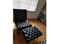 Spectre Armchair and Footstool in Black Leather