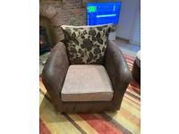 Brown leather suede arm chair