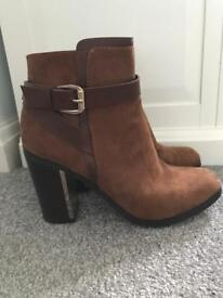 Size 6 brown ankle boots worn once