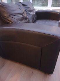 3 & 2 seater brown leather sofa.