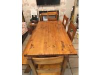 Large 6-8 seater table , chairs and bench!