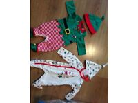 Two Christmas outfits with hats age up to 1 month