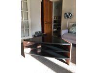 Techlink tv stand, excellent condition, walnut veneer, black glass, 3 shelves, H 450mm W 1000 D 500