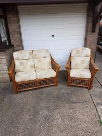 2 seater & 1 seater wicker conservatory set