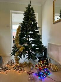 Christmas tree with all decorations and lights