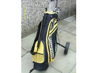 MENS LEFT HAND GOLF CLUBS WITH CART BAG & TROLLEY