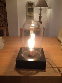 Vintage style Desk Table Cloche Glass Bell Lamp