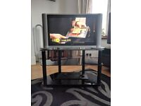 Vistron 27inch LCD TV w/ 3 Tier Black Glass Tv Stand