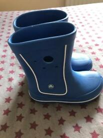 Croc Wellies for kids. Junior size 2 size. In excellent condition with vey little wear.