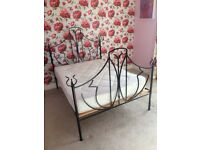 Metal bed frame king size with good quality wooden slats (black brushed metal good quality)