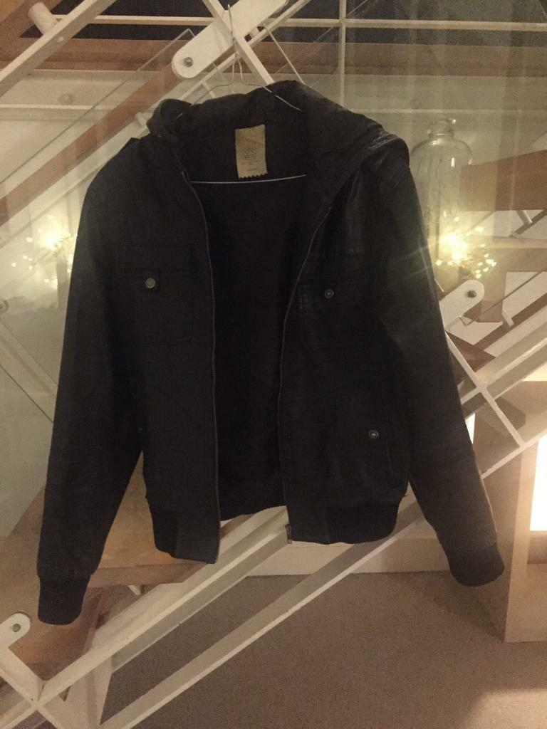 Top man Black Leather Jacket (Sin Islington, LondonGumtree - Black leather jacket with hood bought from Topman. Barely worn. A good piece but s little too small now. Size small