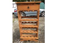 Pine Wine rack with drawer