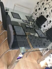 Glass Table & 4 Grey Chairs from NEXT Excellent Condition