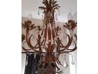 Stunning gold 9 arm chandelier with glass droplets. Matching 3 arm chandelier available also.