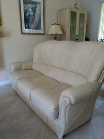 Three Italian cream leather sofas