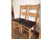 one pair solid oak dining chairs