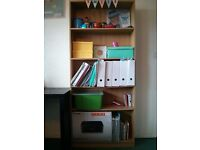 Desk and bookcase. 25£ each, 40£ if you buy both