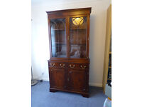 Mahogany bookcase / display cabinet. Sideboard / cupboards with adjustable shelves.