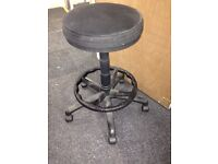 High Adjustable Stool, Padded Seat, Foot Rest, On Castors, Drawing Board Stool
