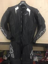 Alpinestars Black One Piece Trigger Motorcycle Leathers- size USA 40/ EUR 50
