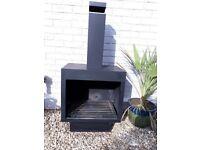 Garden Log Burner / Chimenea Square Black