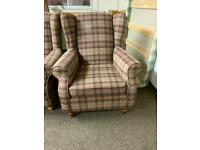 Brown next Sherlock tweed tartan wingback armchair * free furniture delivery *