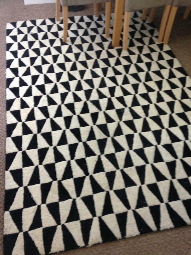 Plantation Geometric 100 Wool Rug Black White Modern