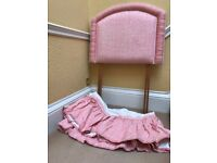 Headboard for single bed with matching valance, pink gingham, professionally handmade
